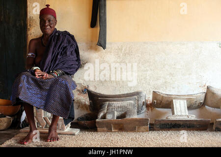 Old voodoo priestess in her convent. Togoville, Togo. - Stock Photo