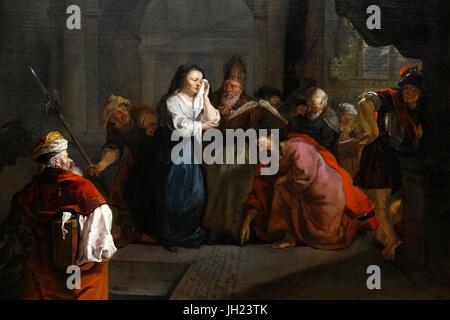 Louvre museum. Jesus defending the adultress. Gabriel Metsu. 1653. France. France. - Stock Photo