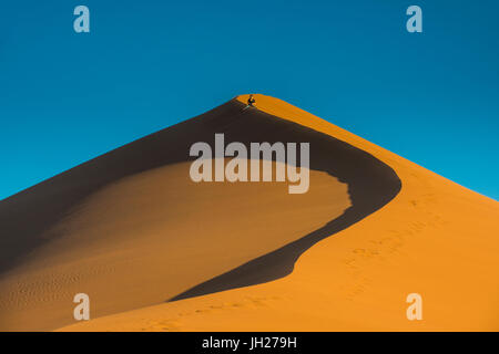Woman hiking up the giant Sand Dune 45, Sossusvlei, Namib-Naukluft National Park, Namibia, Africa - Stock Photo