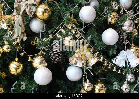 Decorated Christmas tree.  Vietnam. - Stock Photo