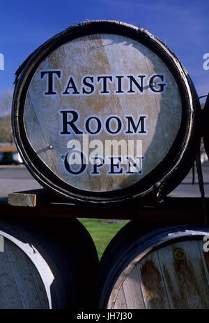 Piety Flats Winery barrels, Yakima County, Washington - Stock Photo