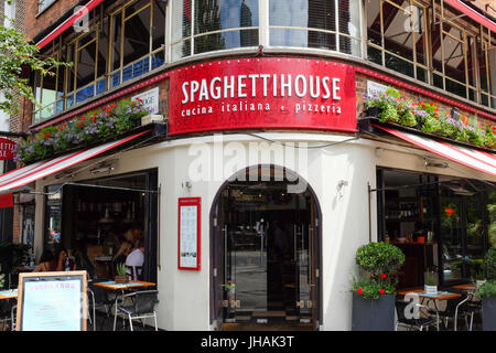 Spaghetti House restaurant on Goodge Street in London, England. - Stock Photo