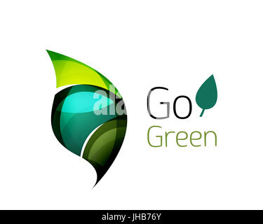 Go green abstract nature logo. illustration - Stock Photo