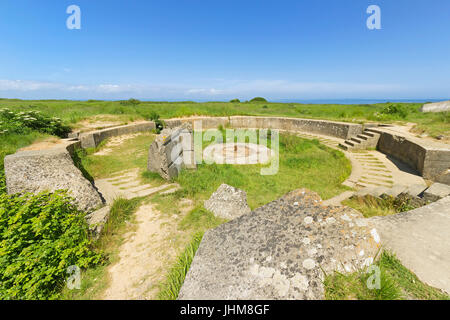 POINTE DU HOC, FRANCE - JUNE 2014; Remains of the gun pit used during the second world war - Stock Photo