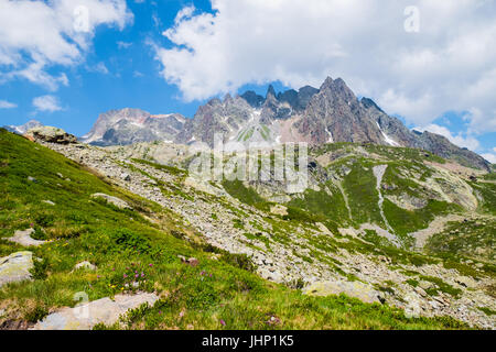Panorama of Aiguilles rouges, Chamonix, France - Stock Photo