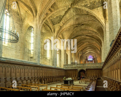 Tomb of Pope Clement VI inside La Chaise Dieu Abbey, Haute Loire, Auvergne, France - Stock Photo