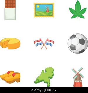 Netherlands attraction icons set, cartoon style - Stock Photo