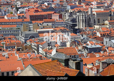 View from Lisbon Castle over tile rooftops Chiado neighborhood Lisbon Portugal - Stock Photo
