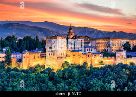 Alhambra of Granada, Spain. Alhambra fortress at sunset. - Stock Photo