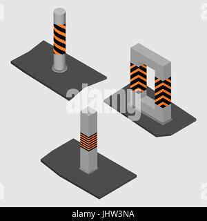 Set of different shape concrete columns and pillars, isolated on white background. Design elements of building materials - Stock Photo