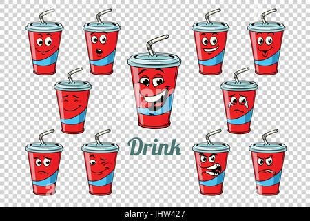 drink Cola tube emotions characters collection set. Isolated neutral background. Retro comic book style cartoon - Stock Photo