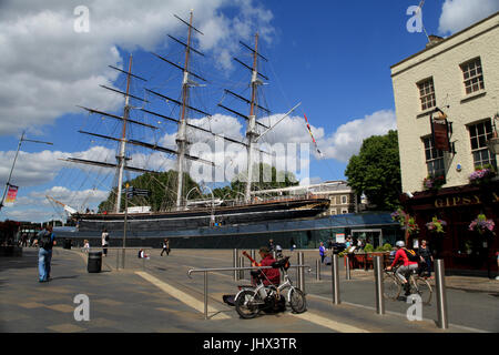 Greenwich, London - 12 July 2017, Cutty Sark ship museum next to the River Thames - Stock Photo