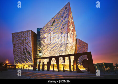 Sunset over Belfast Titanic, Belfast, Northern Ireland, UK - Stock Photo