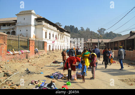 The dusty streets of Kathmandu city Nepal in it's slow recovery after the earthquake - Stock Photo