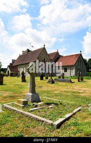 The Grade 1 listed St Mary the Virgin Church dating from the late 12th century in the village of Selborne, Hampshire, - Stock Photo
