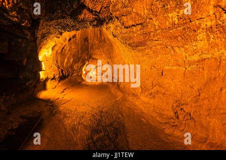 Inside the Thurston Lava Tube, Hawaii Volcanoes National Park, Hawaii USA - Stock Photo