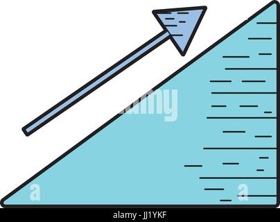 financial triangle with arrow up to business document - Stock Photo