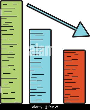 statistic bar with arrow down to business company - Stock Photo