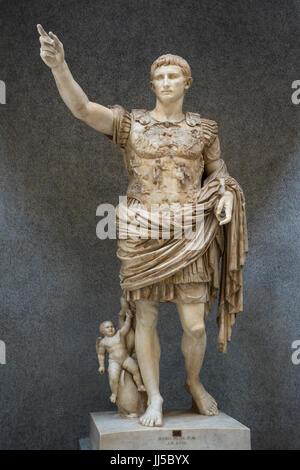 Rome. Italy. Augustus of Prima Porta, marble statue of Roman Emperor Augustus (Octavian / Ottaviano), Braccio Nuovo, - Stock Photo