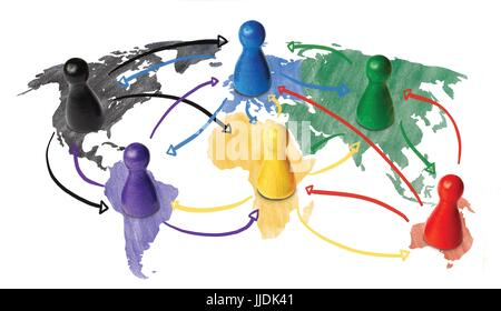 Sketch or handdrawn concept for globalization, global networking, travel or global connection or transportation. - Stock Photo