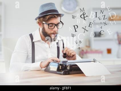 Digital composite of Hipster man  on typewriter in bright room with letters - Stock Photo