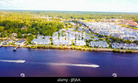 Aerial view on intercoastal waterway in Little River of South Carolina. - Stock Photo