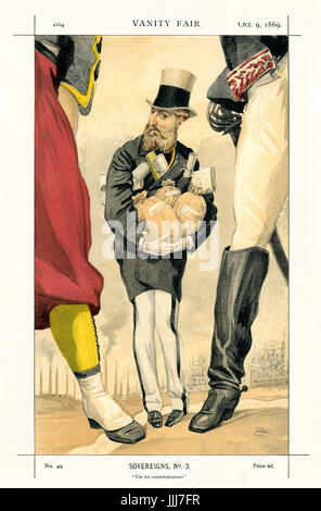 Leopold II - portrait standing, holding bags of moneyclose to himself. Vanity Fair caricature by Coide (real name - Stock Photo