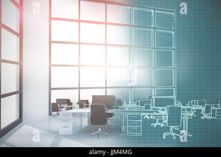Composite 3d image of illustration of chairs by desks at office - Stock Photo