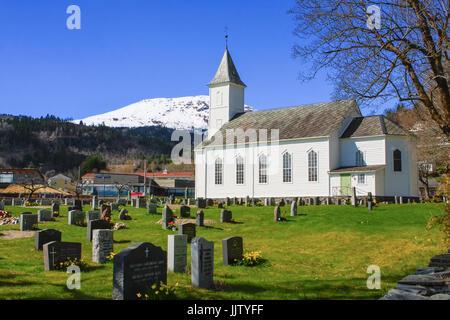 NORHEIMSUND, NORWAY - 24 April, 2016: Norheimsund church. Norheimsund is the administrative center of the municipality - Stock Photo