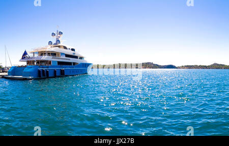 Luxury yacht on a sunny day in Croatia - Stock Photo