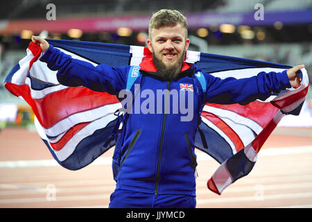 London, UK. 20th July, 2017. London, UK, 20th July, 2017. Kyron Duke holding a Union Jack flag and looking very - Stock Photo