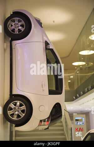 France, Paris, Toyota Automobile showroom on the Champs Elysees, Toyota iQ micro car, challenger to the Smart Car - Stock Photo