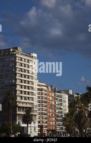 Uruguay, Montevideo, Pocitos, high rise buildings along Playa de los Pocitos beach, morning - Stock Photo
