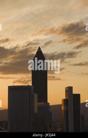 Germany, Hessen, Frankfurt am Main, Financial District view towers Messeturm tower, sunset, - Stock Photo
