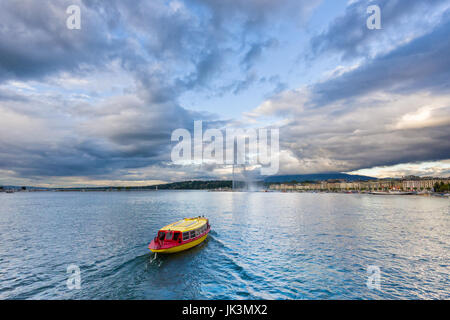Geneva Switzerland,  company of traditional  boats yellow and red, called Mouettes, runs a lake navigation and Geneva - Stock Photo