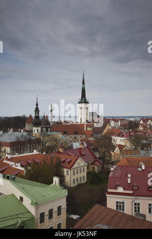 Estonia, Tallinn, Toompea area, view of Old Town from Troompea, late afternoon - Stock Photo