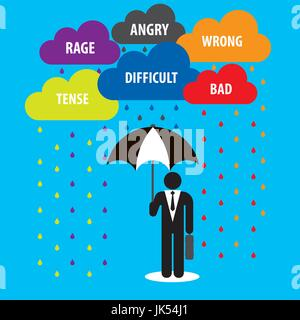 Protection with cloud umbrella with problems in business.Concept of businessman. - Stock Photo