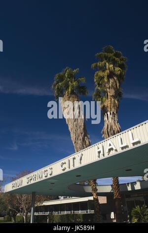 USA, California, Palm Springs, Palm Springs City Hall, 1950s architecture - Stock Photo
