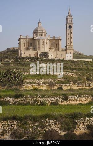 Malta, Gozo Island, Gharb, Basilica of Ta-Pinu, exterior - Stock Photo