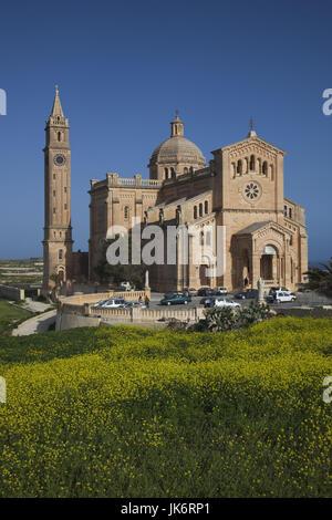 Malta, Gozo Island, Gharb, Basilica of Ta-Pinu, exterior, morning - Stock Photo