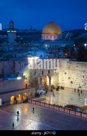 Israel, Jerusalem, Old City, Jewish Quarter, elevated view of the Western Wall Plaza, late evening - Stock Photo