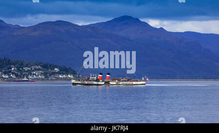 The Waverley, last seagoing paddle steamer in the world on Firth of Clyde, Argyll & Bute, Scotland, UK  Model Release: - Stock Photo