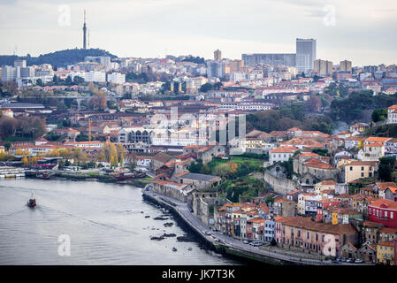 Vila Nova de Gaia city seen from Crystal Palace Gardens in Porto city on Iberian Peninsula, second largest city - Stock Photo