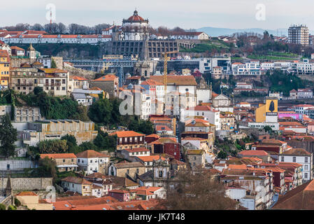 Aerial view from Crystal Palace Gardens on the Old Town of Porto city, Portugal. Monastery of Serra do Pilar in - Stock Photo
