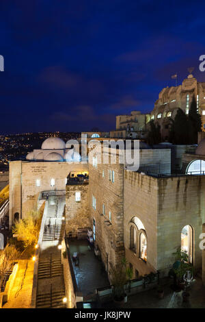 Israel, Jerusalem, Old City, Jewish Quarter, buildings across from the Western Wall Plaza, evening - Stock Photo