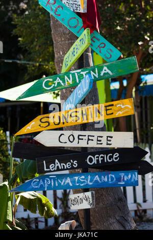 USA, Florida, Gulf Coast, Captiva Island, signpost - Stock Photo