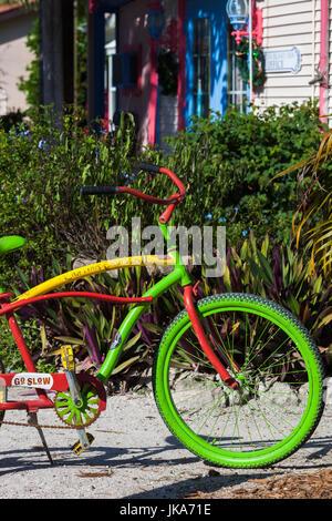 USA, Florida, Gulf Coast, Captiva Island, colorful bicycle - Stock Photo