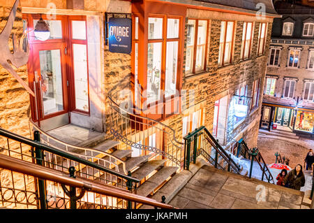 Quebec City, Canada - May 30, 2017: People walking up famous stairs or steps on lower old town street Rue du Petit - Stock Photo