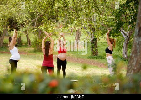 Pregnant women, group of moms training with coach doing fitness exercises and yoga during pregnancy in park. - Stock Photo