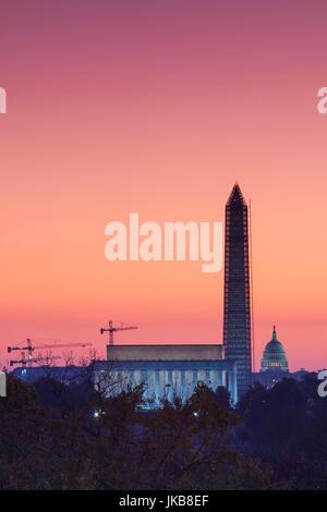 USA, Washington DC, Lincoln Memorial, Washington Monument and US Capitol, dawn - Stock Photo